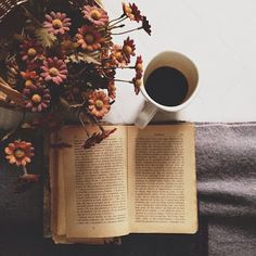 vintage flowers, coffee, book